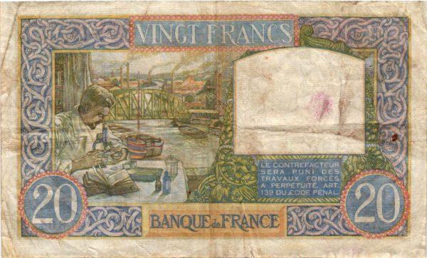 Billet 20 Francs Science et travail