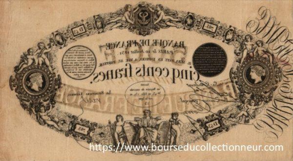 Verso 500 Francs Type 1842