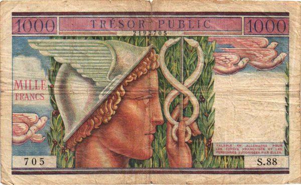 1000 Francs TRÉSOR PUBLIC