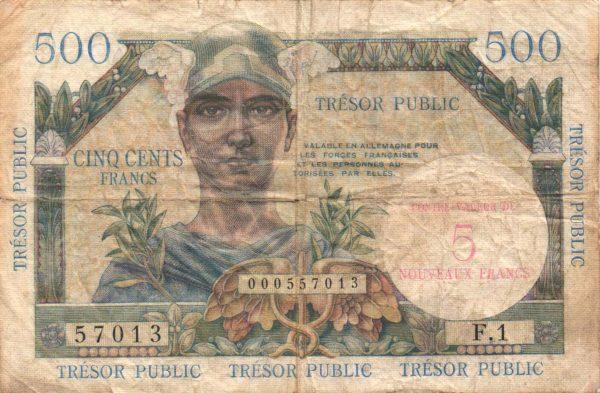 5 NF sur 500 Francs TRÉSOR PUBLIC