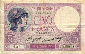 Billet 5 Francs Violet BDF