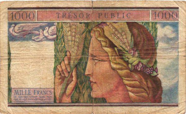 Verso 1000 Francs TRÉSOR PUBLIC