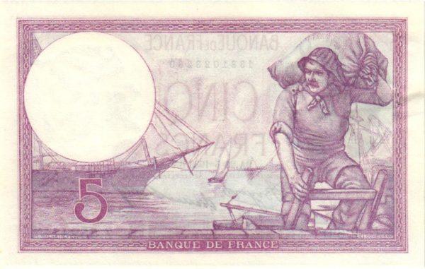 Verso Billet français 5 Francs Violet