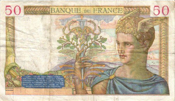 Verso 50 Francs Cérès