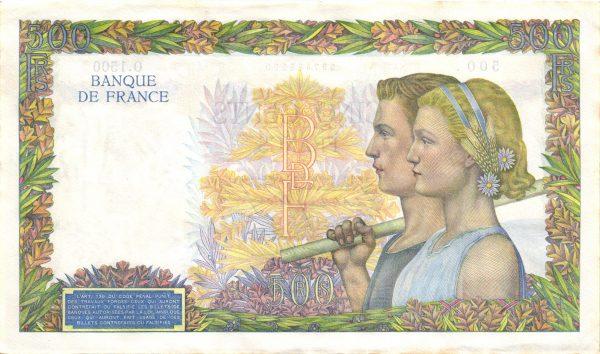 Verso 500 Francs La Paix