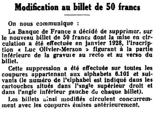 Billet 50 Francs LOM Modifié
