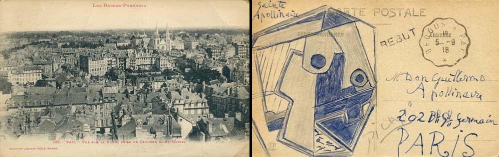 Rare carte postale de Picasso à Apollinaire
