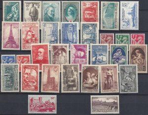 Année complète des timbres français - 1939