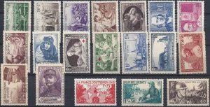 Année complète des timbres français - 1940
