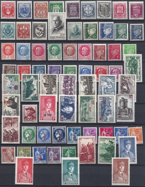 Année complète des timbres français - 1941