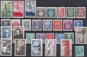 Année complète des timbres français - 1942