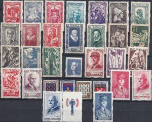 Année complète des timbres français - 1943