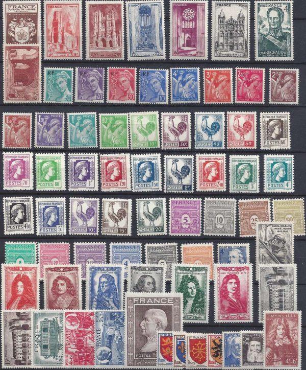 Année complète des timbres français - 1944