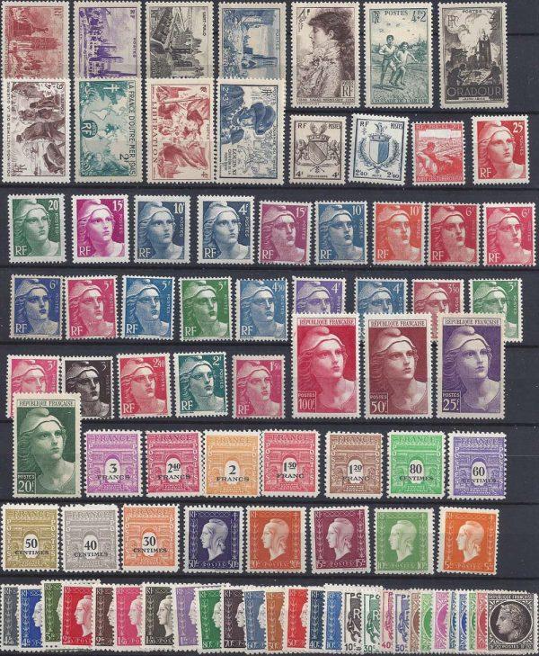 Année complète des timbres français - 1945
