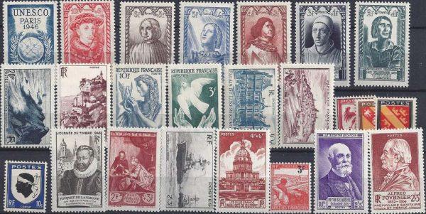 Année complète des timbres français - 1946