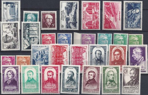 Année complète des timbres français - 1948