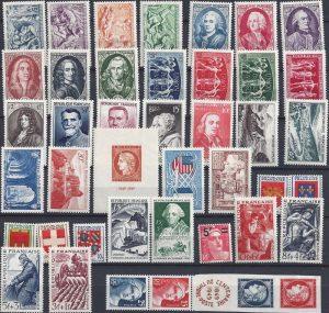 Année complète des timbres français - 1949