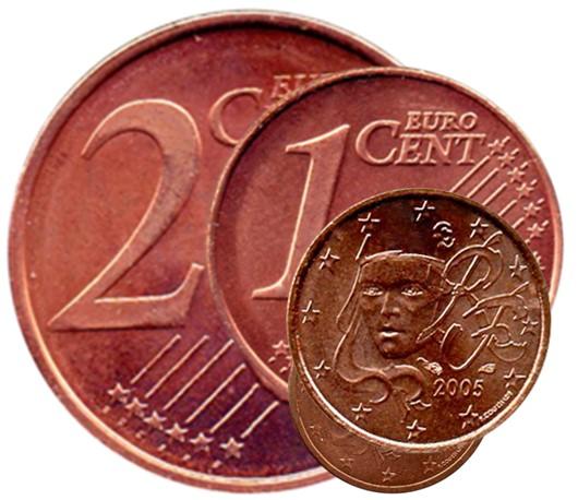 1 centime et 2 centimes d'euro