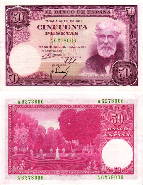 Billet de banque de collection d'Espagne