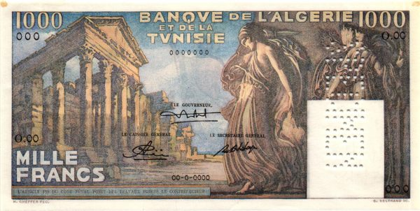 TUNISIE - Billet de 1000 Francs Type 1950 TEMPLE ROMAIN