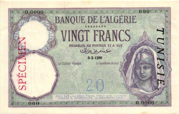 TUNISIE - Billet de 20 Francs Type 1912