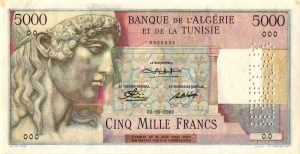 TUNISIE - Billet de 5000 Francs Type 1946 STATUE D'APPOLON