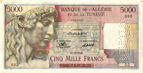 TUNISIE - Billet de 5000 Francs Type 1946 STATUE D'APPOLON