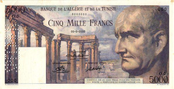 TUNISIE - Billet de 5000 Francs Type 1950 VESPASIEN