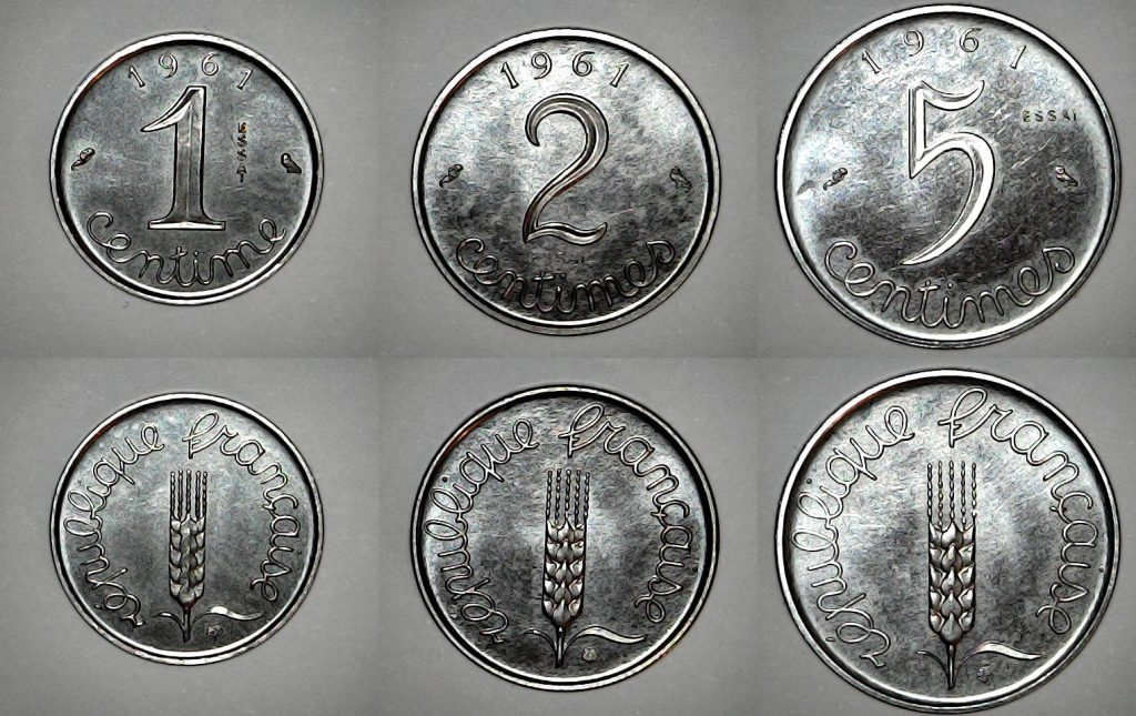 1, 2 et 5 centimes 1961 Essai