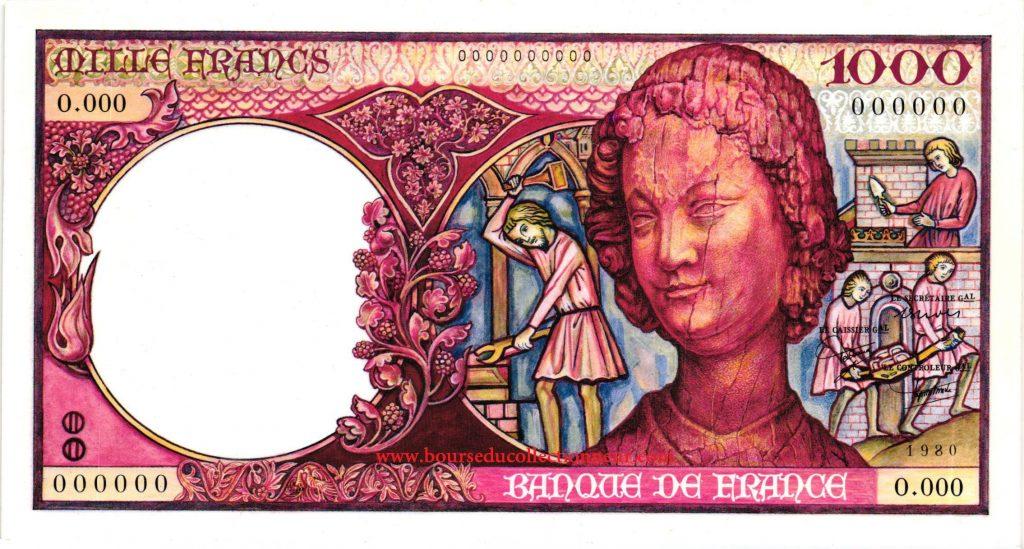 1000 Francs Art Médiéval Billet Banque de France