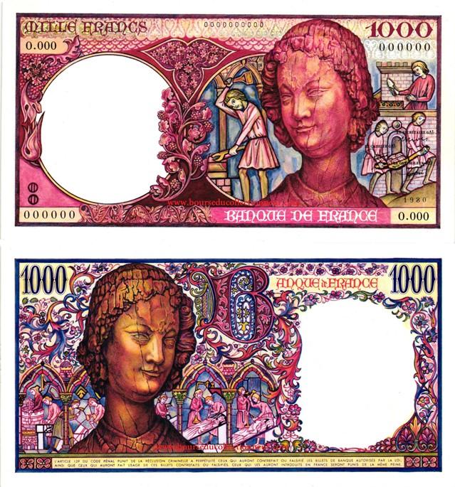 1000 Francs Art Médiéval Type 1980