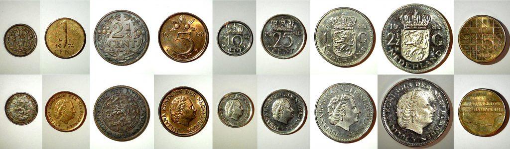 Série presque complète des monnaies des Pays Bas.