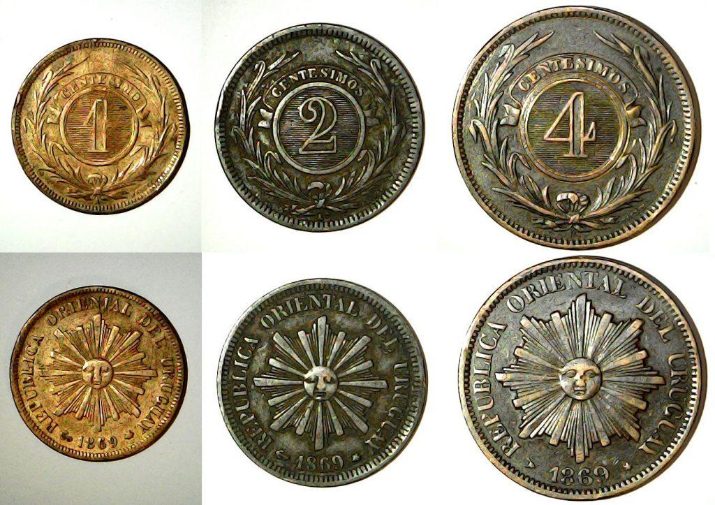 Série centavos uruguay 1869