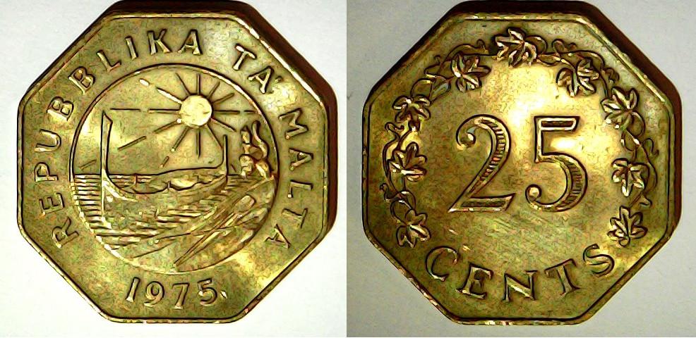 25 cents 1975 Malte
