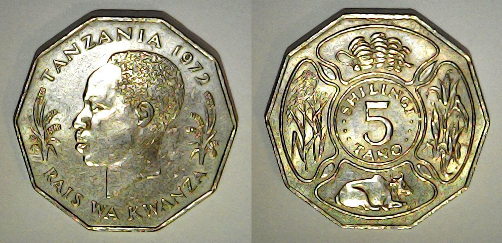 5 shilingi Tanzanie 1972