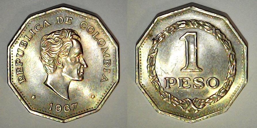 1 peso 1967 Colombie