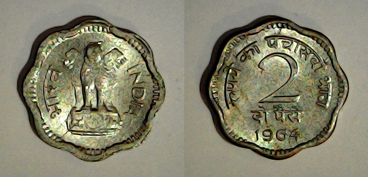 2 paise Inde 1964