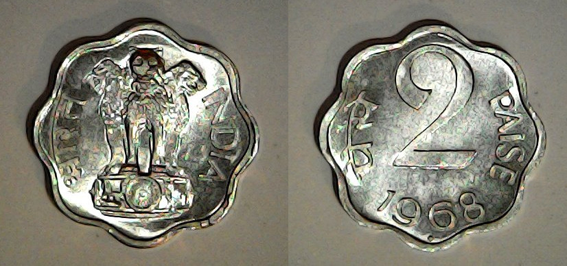 2 paise Inde 1968