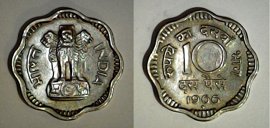 10 paise Inde 1966