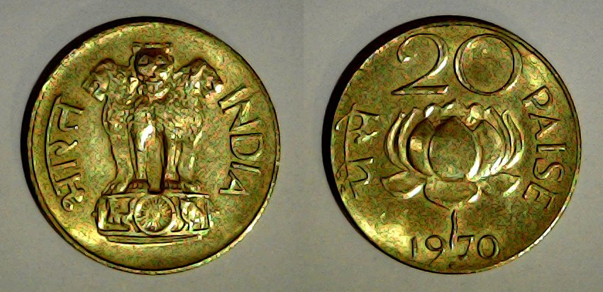 20 paise Inde 1970