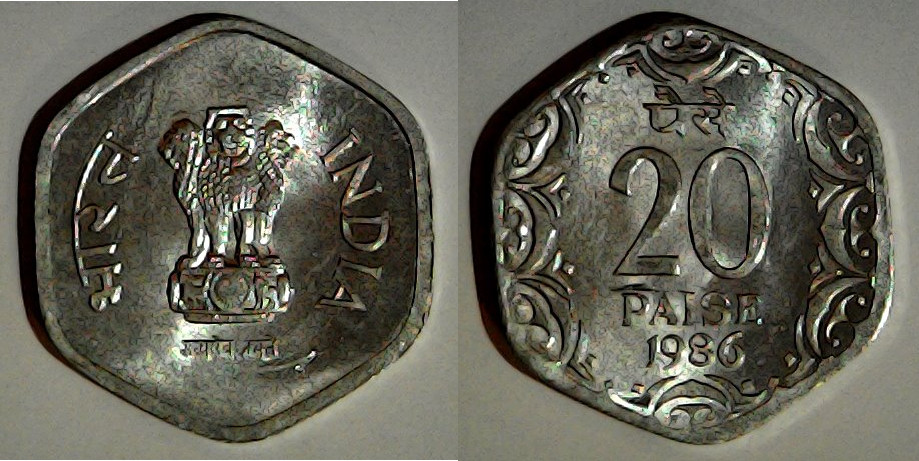 20 paise Inde 1986