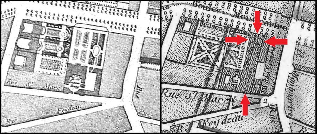Plan du passage des Panoramas au début du XIXème siècle