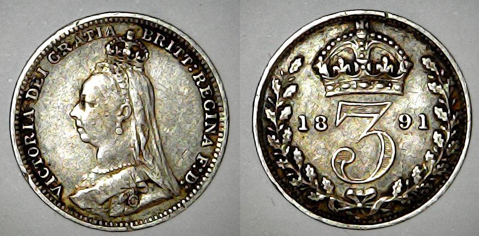 3 pence 1891 Royaume Uni