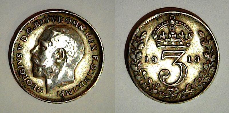 3 pence 1913 Royaume Uni