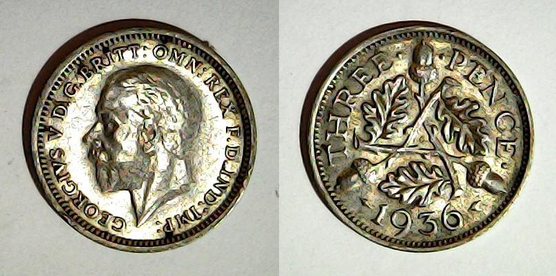 3 pence 1936 Royaume Uni