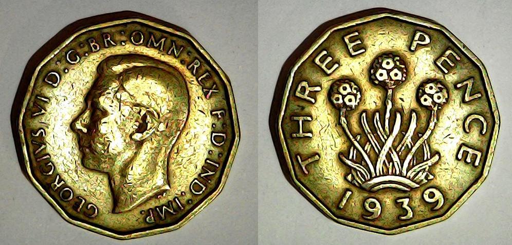 3 pence 1939 Royaume Uni