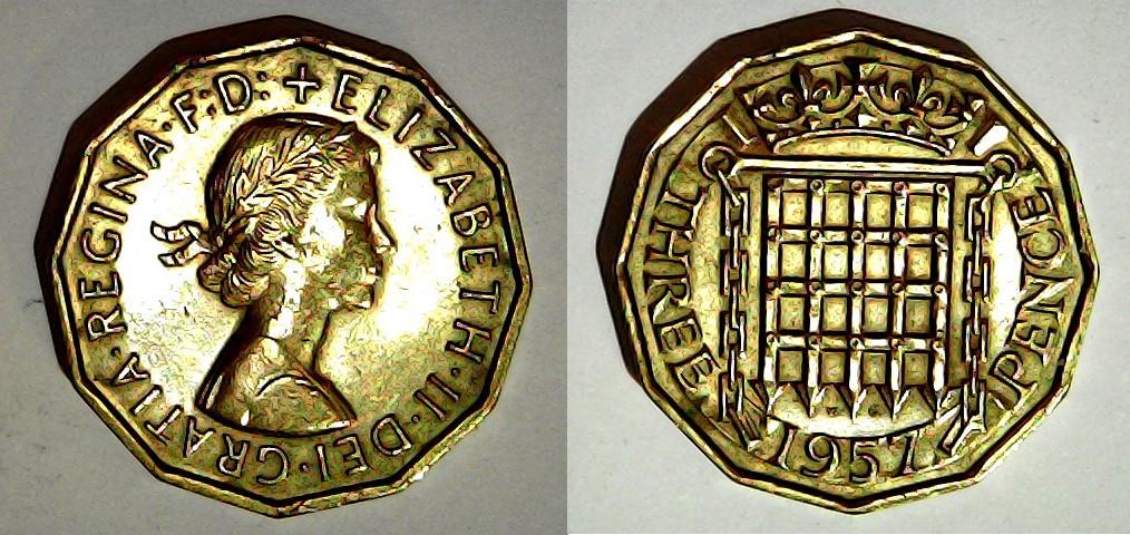 3 pence 1957 Royaume Uni
