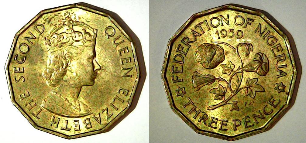 3 pence 1959 Nigeria