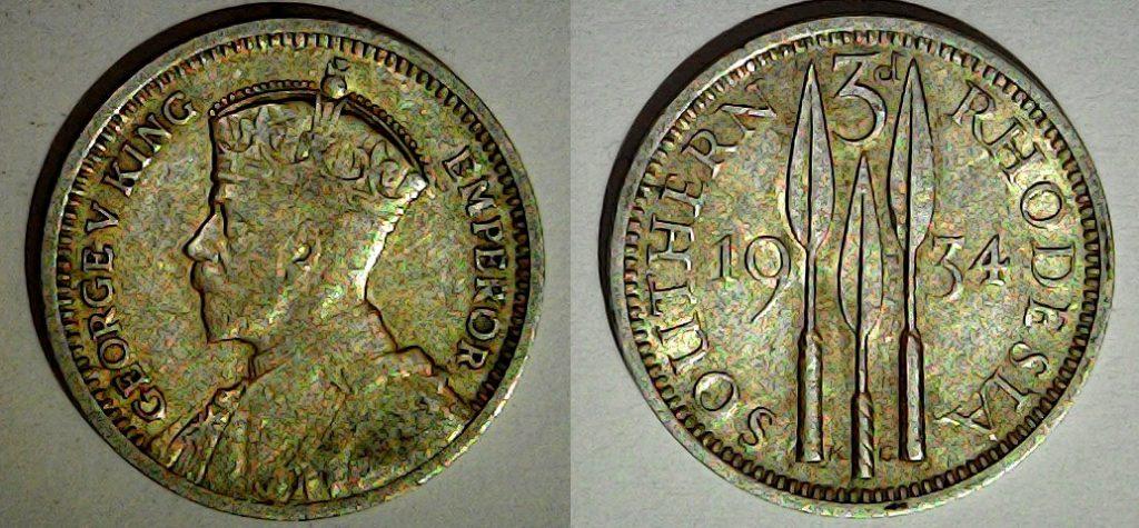 3 pence 1934 Rhodésie du Sud