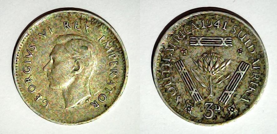 3 pence 1941 Afrique du Sud
